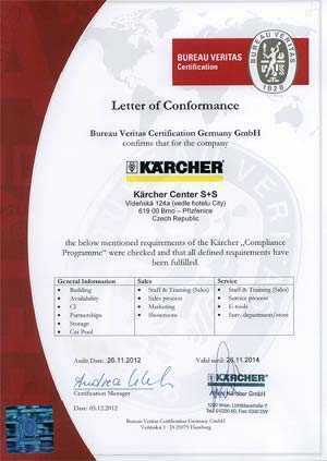 Certifik�t Karcher Center Brno